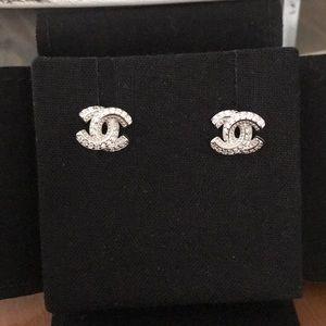 Silver C Earrings